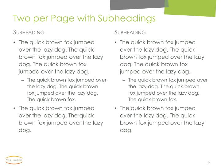 Two per Page with Subheadings