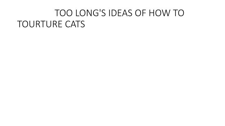 Too long s ideas of how to tourture cats