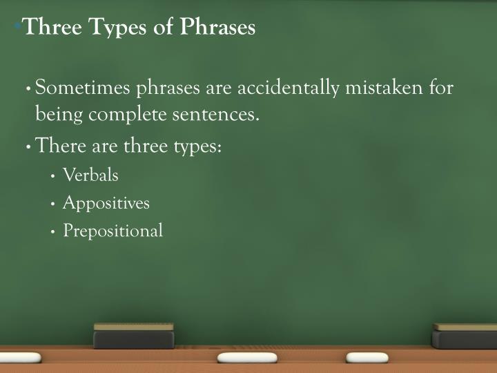Three Types of Phrases