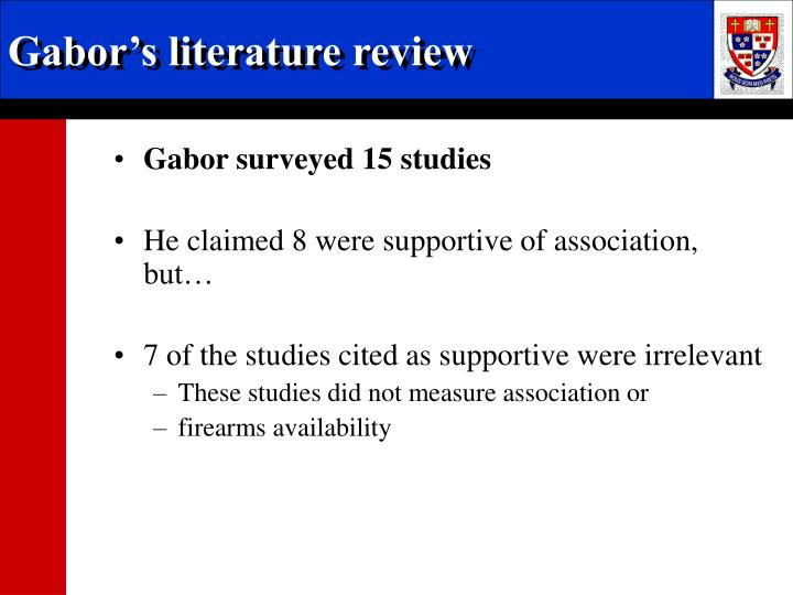 Gabor's literature review