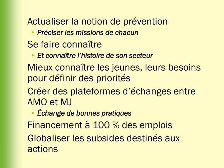 Actualiser la notion de prévention