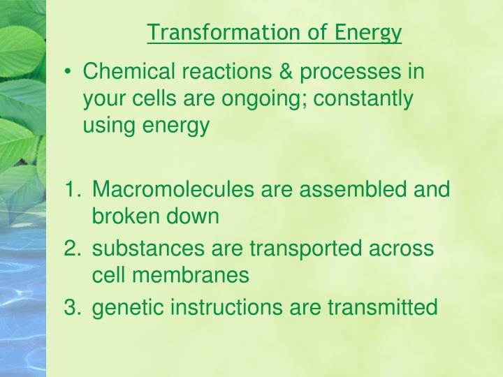 Transformation of Energy