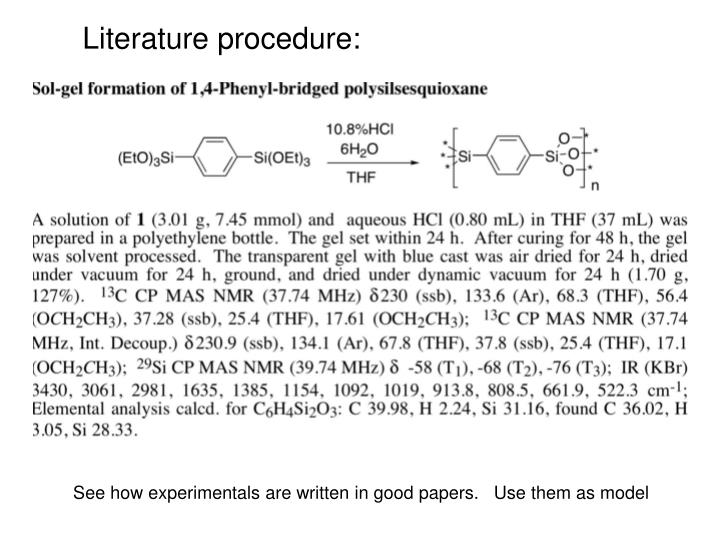 Literature procedure: