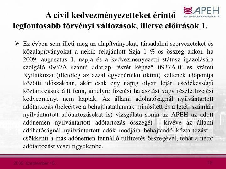 A civil kedvezményezetteket érintő