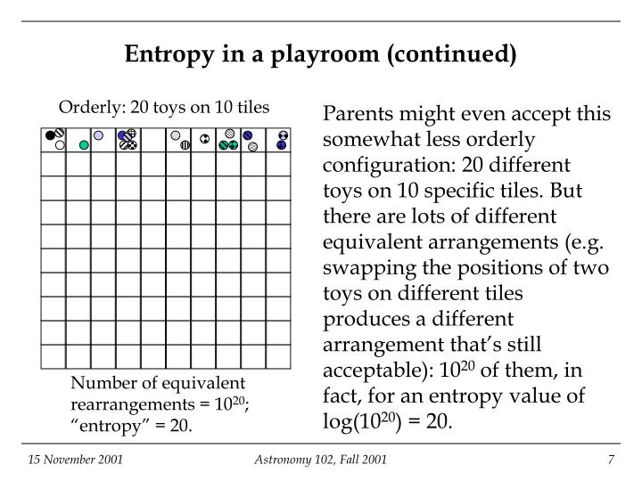 Entropy in a playroom (continued)
