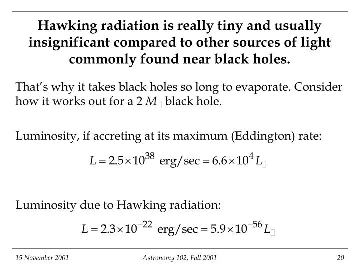 Hawking radiation is really tiny and usually insignificant compared to other sources of light commonly found near black holes.