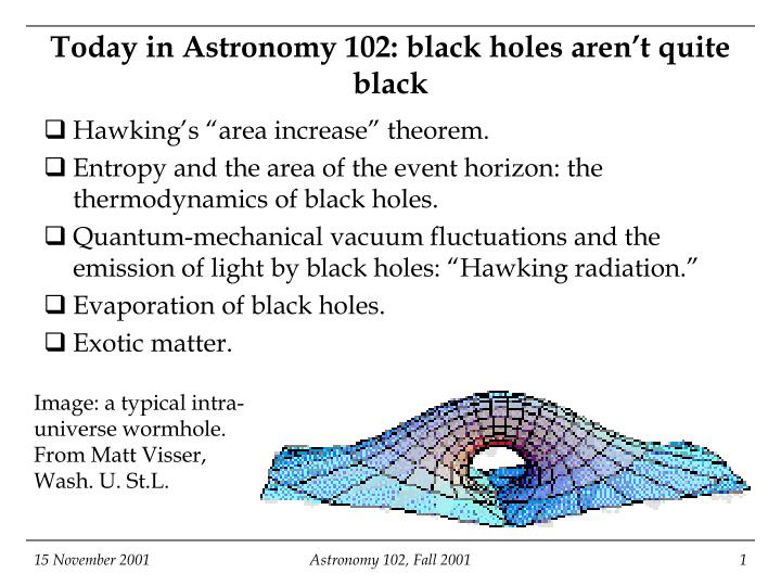 today in astronomy 102 black holes aren t quite black