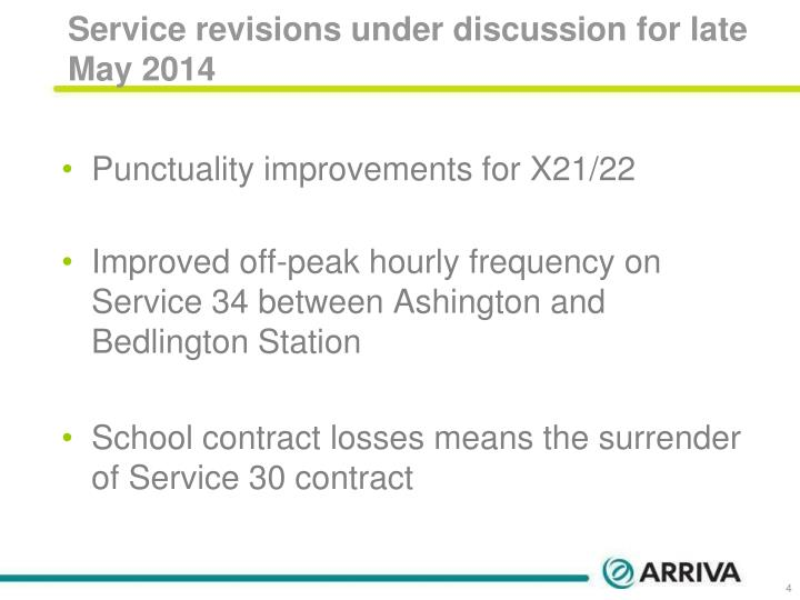 Service revisions under discussion for late May 2014