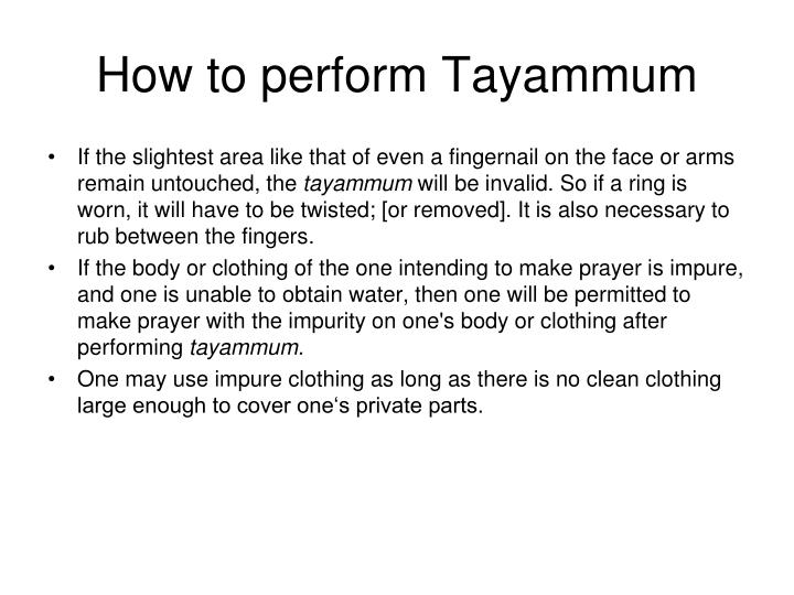 How to perform Tayammum