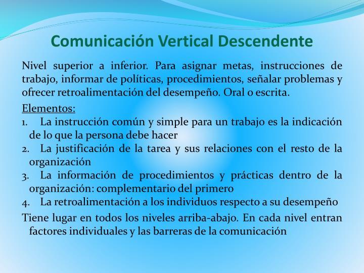 Comunicación Vertical Descendente