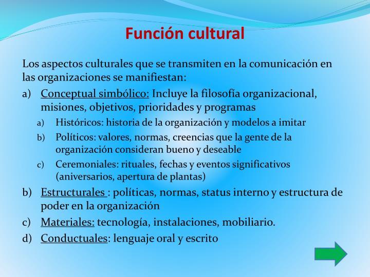 Función cultural