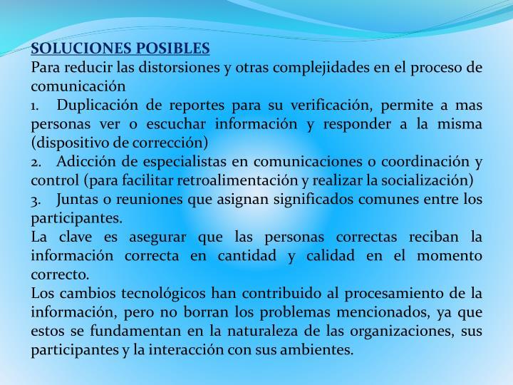 SOLUCIONES POSIBLES