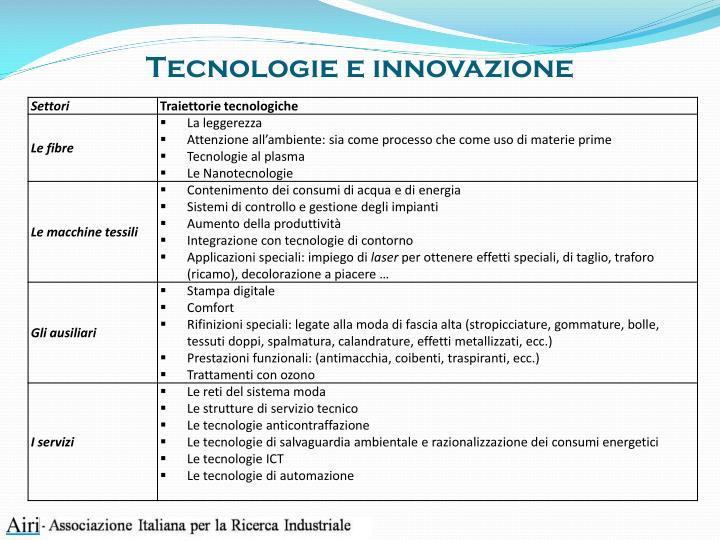 Tecnologie e innovazione