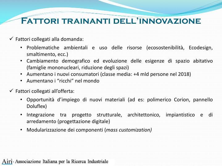Fattori trainanti dell'innovazione