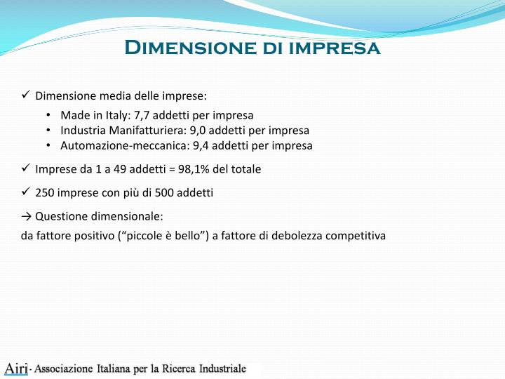 Dimensione di impresa