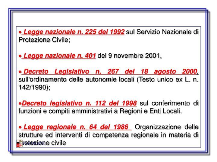Legge nazionale n. 225 del 1992