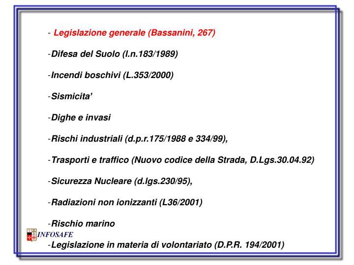 Legislazione generale (Bassanini, 267)