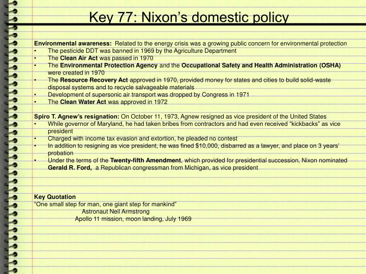 Key 77: Nixon's domestic policy
