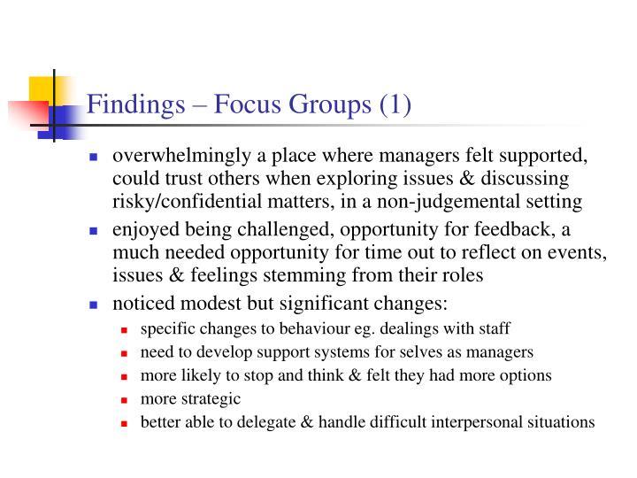 Findings – Focus Groups (1)