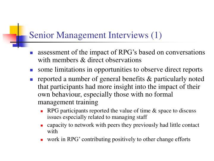 Senior Management Interviews (1)
