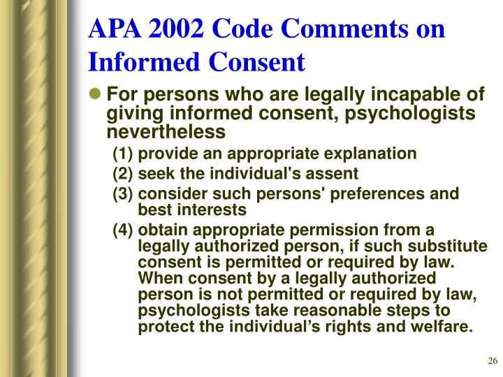 APA 2002 Code Comments on Informed Consent