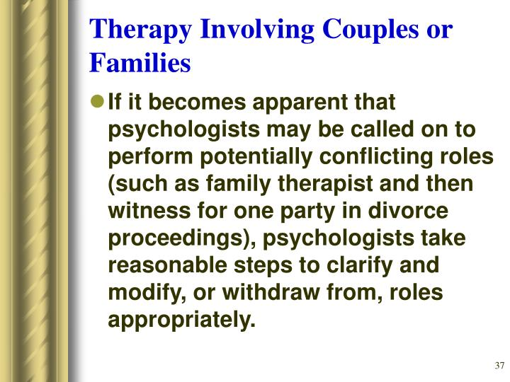 Therapy Involving Couples or Families