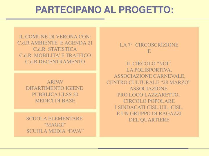 PARTECIPANO AL PROGETTO: