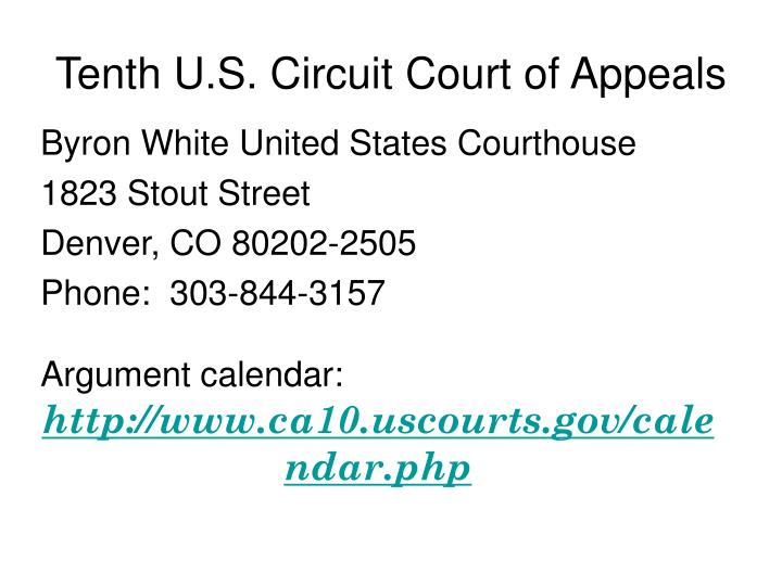 Tenth U.S. Circuit Court of Appeals