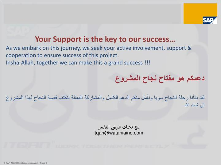 Your Support is the key to our success…