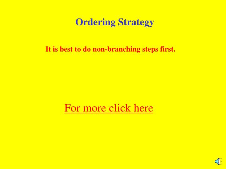 Ordering Strategy