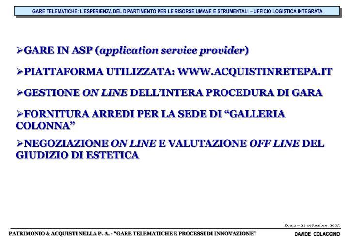 GARE TELEMATICHE: L'ESPERIENZA DEL DIPARTIMENTO PER LE RISORSE UMANE E STRUMENTALI – UFFICIO LOGISTICA INTEGRATA