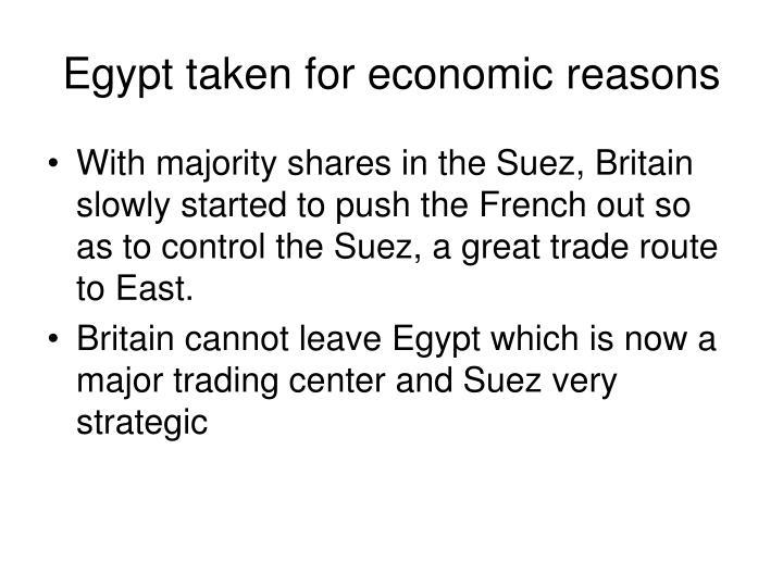 Egypt taken for economic reasons
