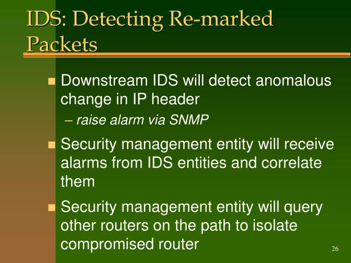IDS: Detecting Re-marked Packets