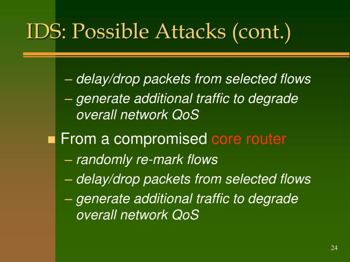 IDS: Possible Attacks (cont.)