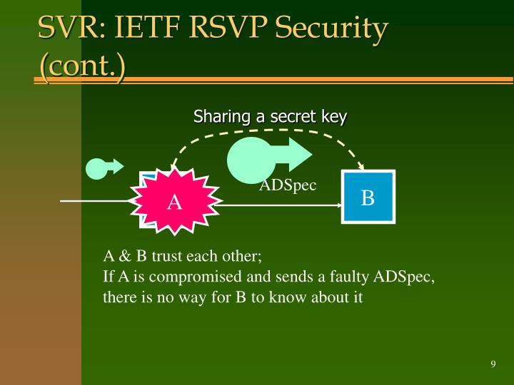 SVR: IETF RSVP Security (cont.)