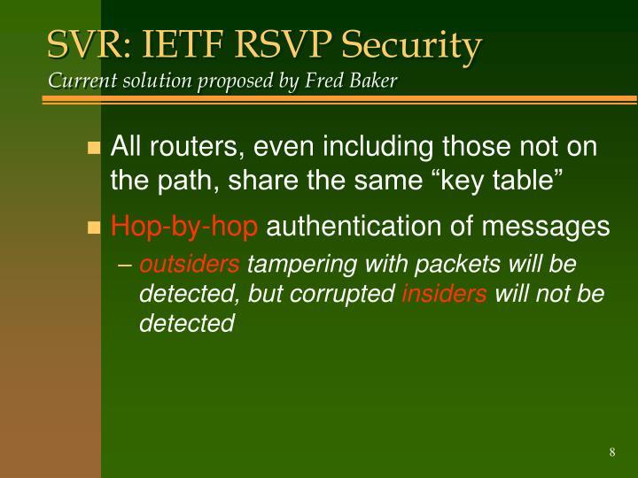 SVR: IETF RSVP Security
