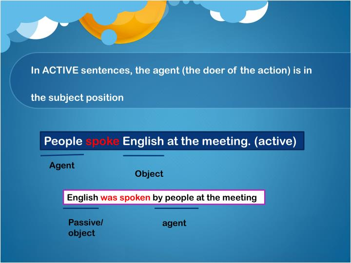 In ACTIVE sentences, the agent (the doer of the action) is in the subject position