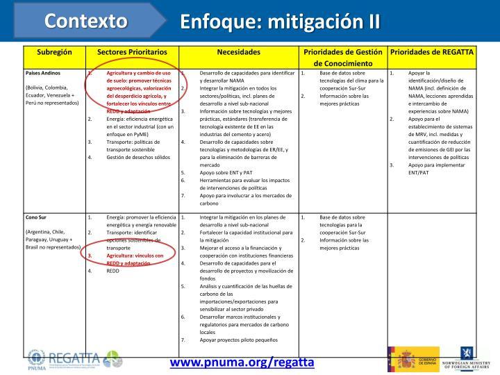 Enfoque: mitigación II