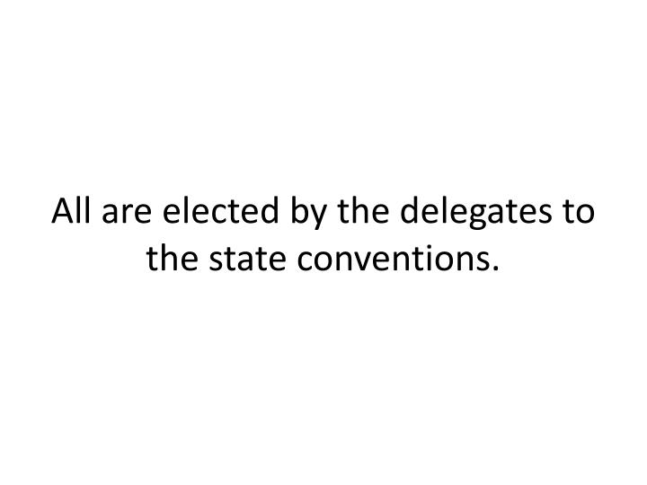 All are elected by the delegates to the state conventions.