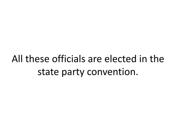 All these officials are elected in the state party convention.