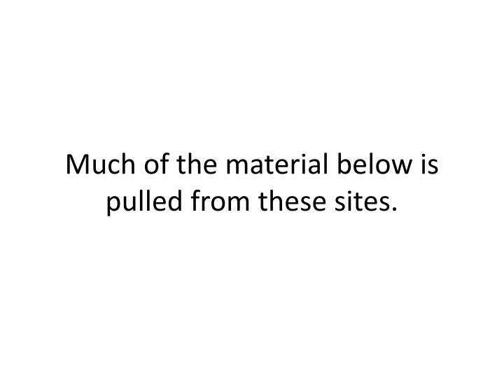 Much of the material below is pulled from these sites.