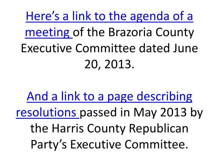 Here's a link to the agenda of a meeting
