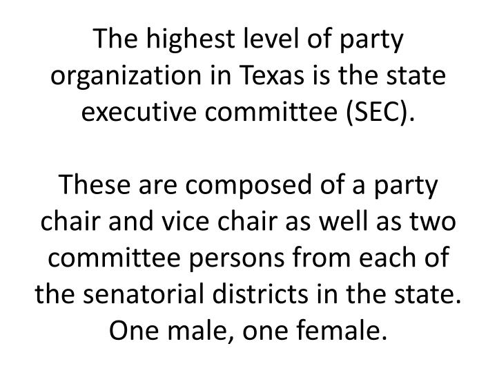 The highest level of party organization in Texas is the state executive committee (SEC).