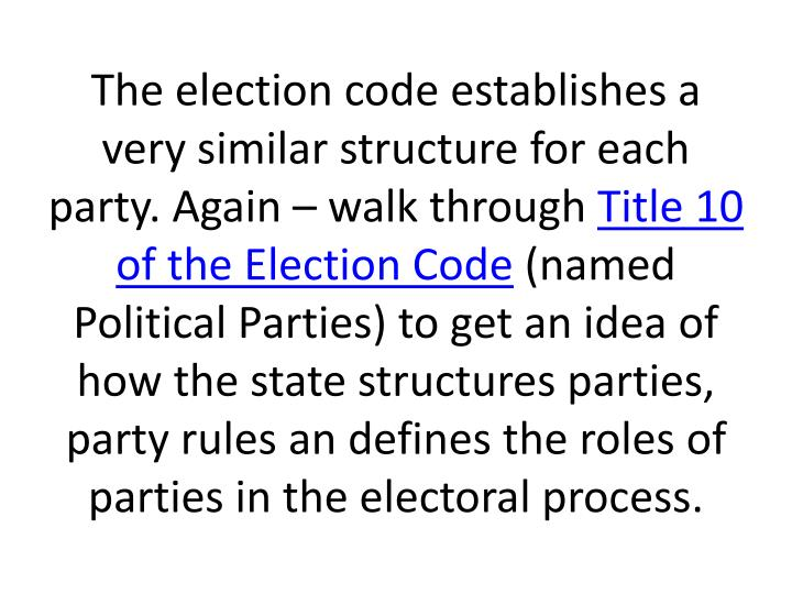 The election code establishes a very similar structure for each party. Again – walk through