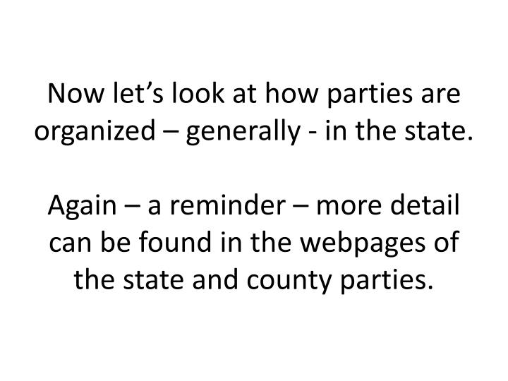 Now let's look at how parties are organized – generally - in the state.