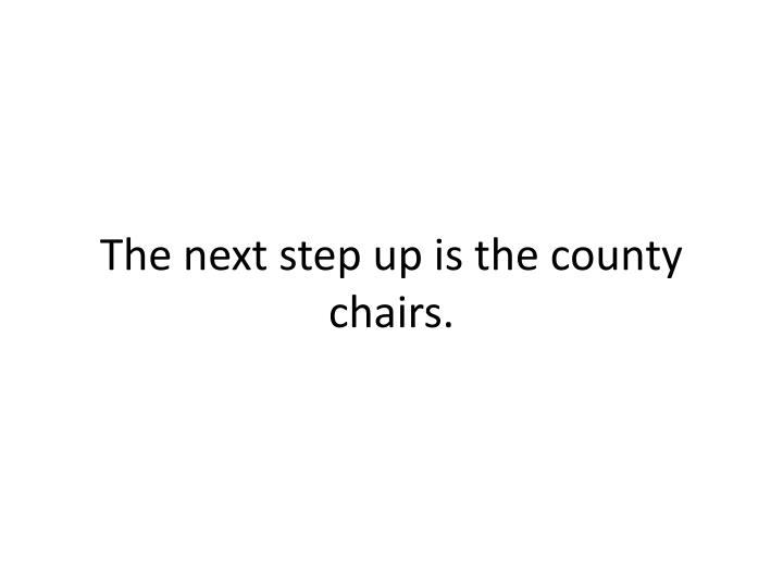 The next step up is the county chairs.