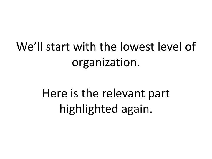 We'll start with the lowest level of organization.