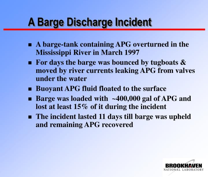 A Barge Discharge Incident