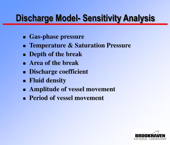 Discharge Model- Sensitivity Analysis