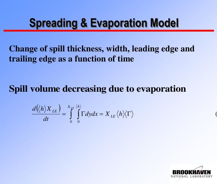 Spreading & Evaporation Model